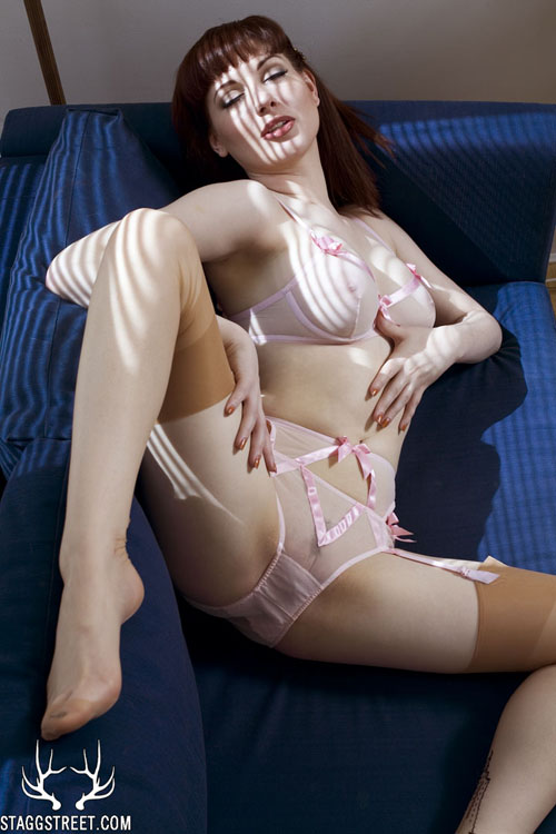 angela ryan pink see thru lingerie