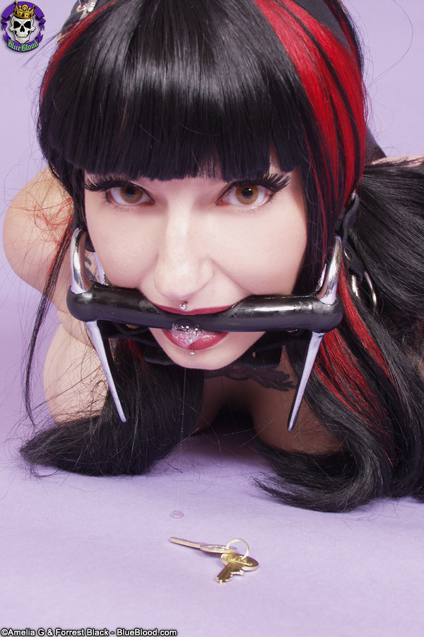 nina sin headgear bondage photographed for blue blood by amelia g and forrest black
