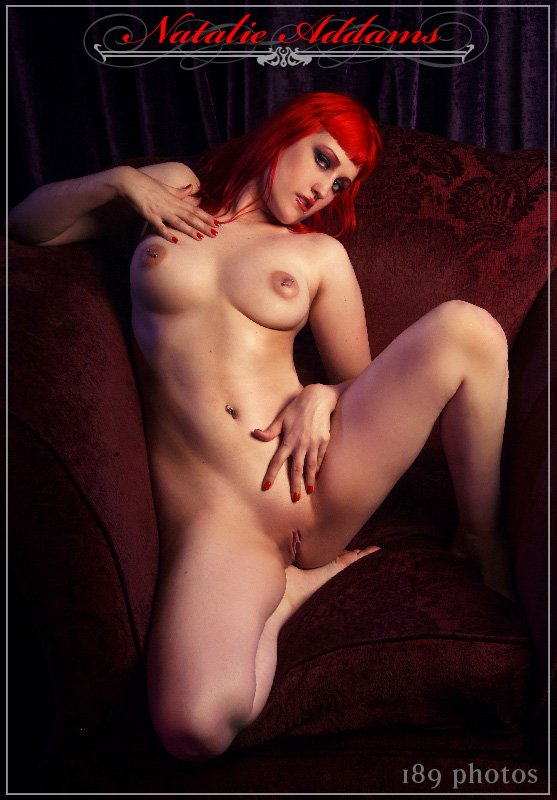 natalie addams red hair red chair