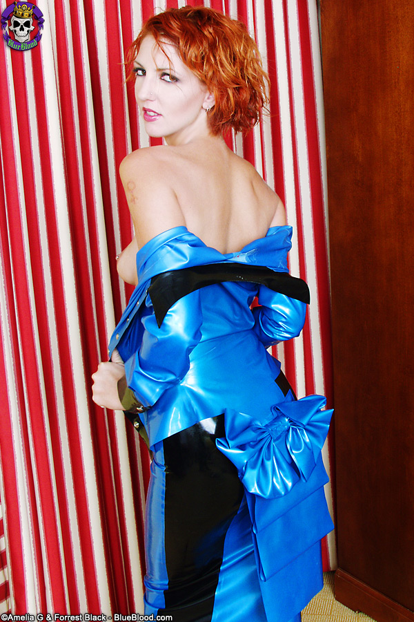 lydia ivy west blue bustle rubber dress