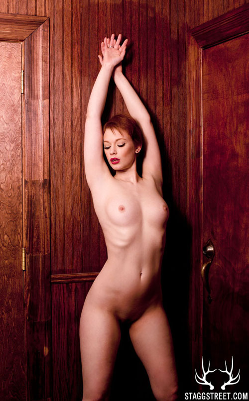 justine joli naked in this dark wood hallway