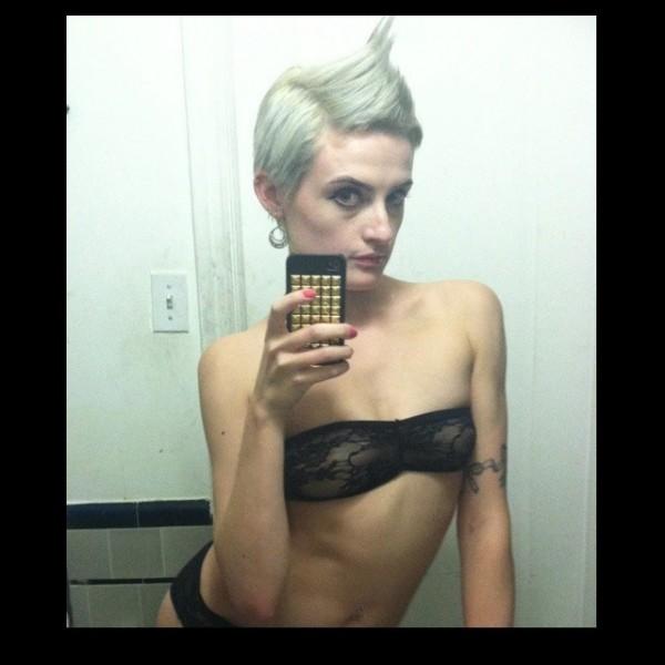 annika amour selfie fauxhawk blonde
