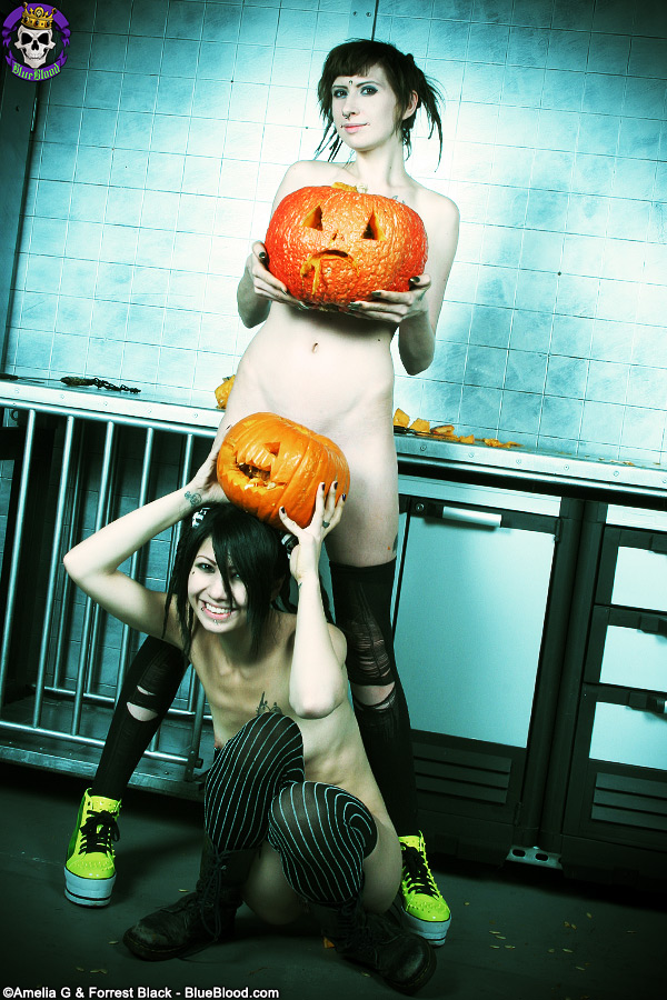 Shadow and Miss Seamonster on Blue Blood VIP Halloween Pumpkin Nude