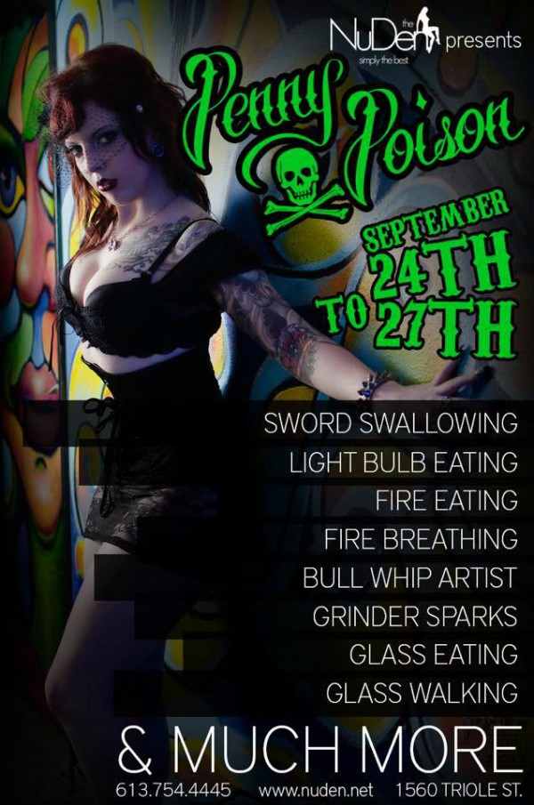 penny poison sword swallowing lightbulb eating glass fire performance