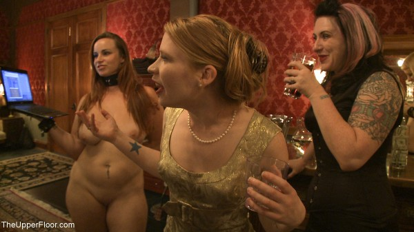 madison young gold evening dress bdsm party