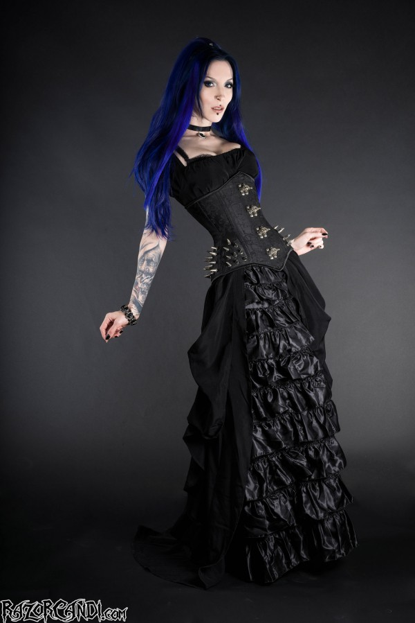 razor candi dracula clothing black corset frilly skirt blue hair