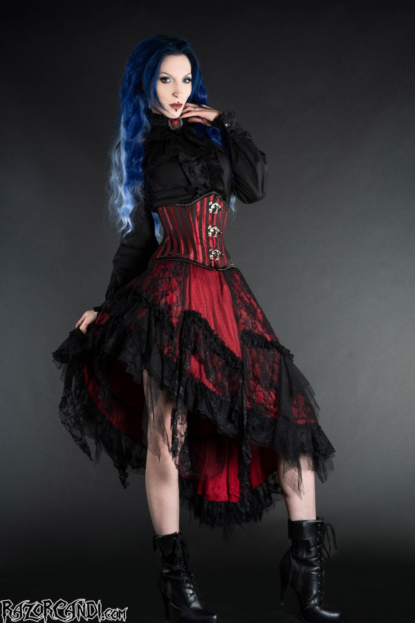 red black goth clothing