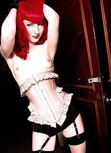 BlueBloods GothicSluts redhead bettie page corset lace gloves garters