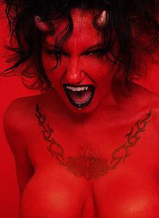 BlueBlood BarelyEvil tattoo alt babe Tattooed and pierced big titty Devil girl