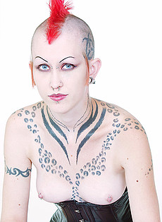 BlueBlood BarelyEvil tattoo alt babe Tattooed corseted Punk rocker with glass sex toy