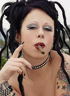 BlueBlood BarelyEvil tattoo alt babe cigar smoking beauty in military uniform