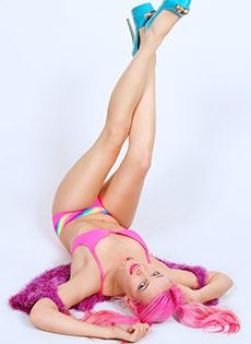 BlueBlood BarelyEvil tattoo alt babe Raven Le Faye Pink Pigtails