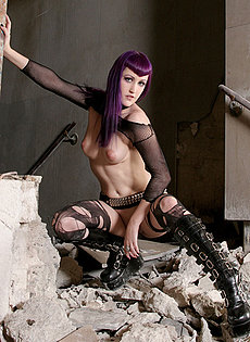 BlueBloods GothicSluts purplehaired cyberpunk in black lingerie and boots